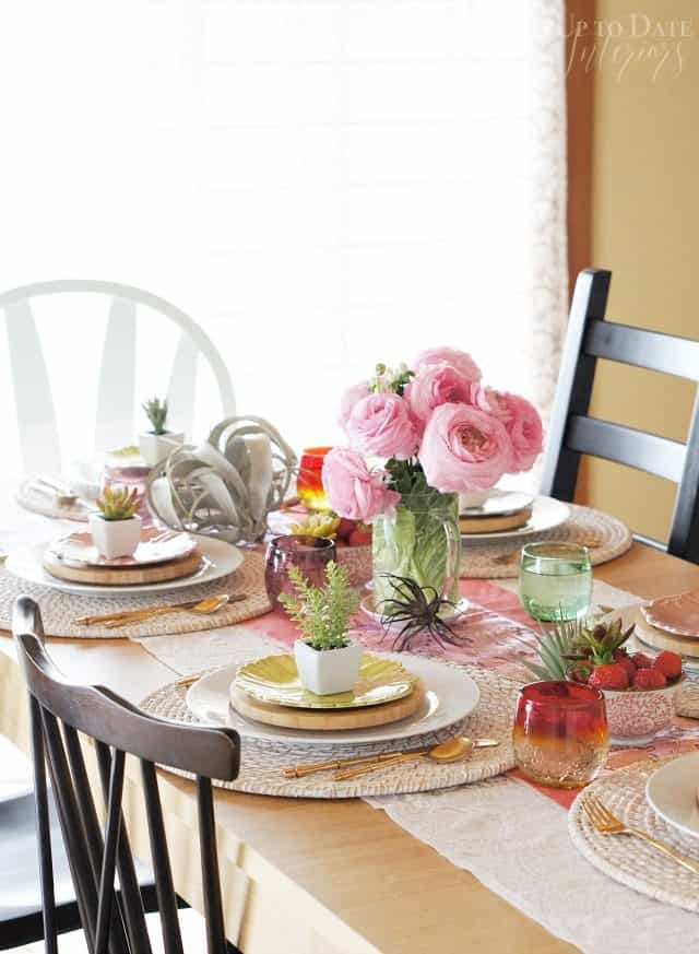 spring table with succulents and peonies