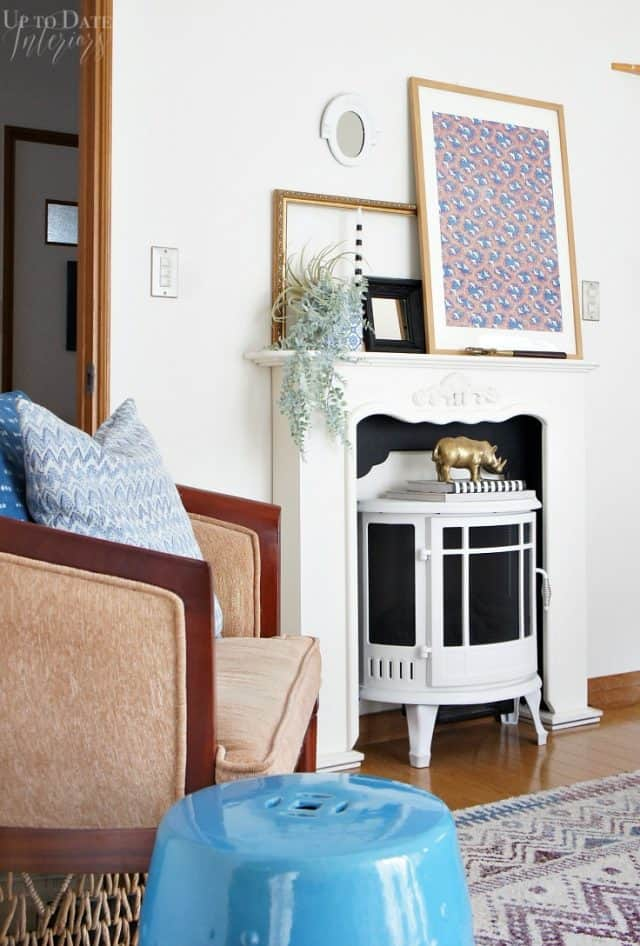 rental decorating faux fireplace in a Japanese home