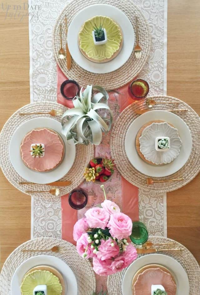 spring tablescape with succulents and peonies