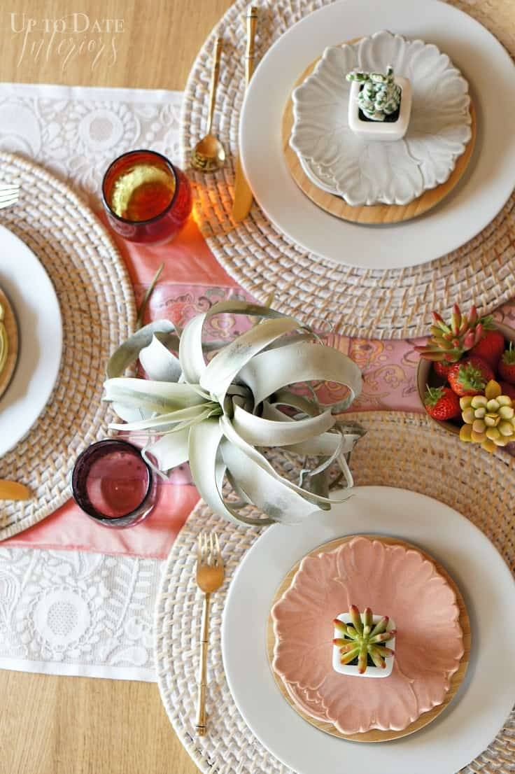 spring table with succulents air plants and peonies love your home