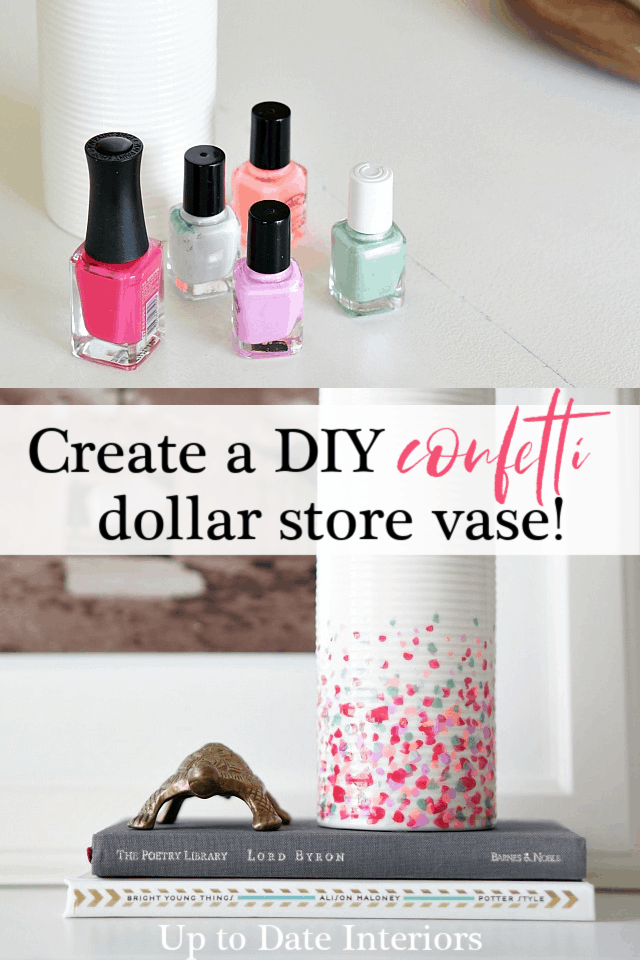 dollar store diy with vase and nail polish for a confetti look