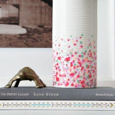 diy confetti vase dollar store decor makeover