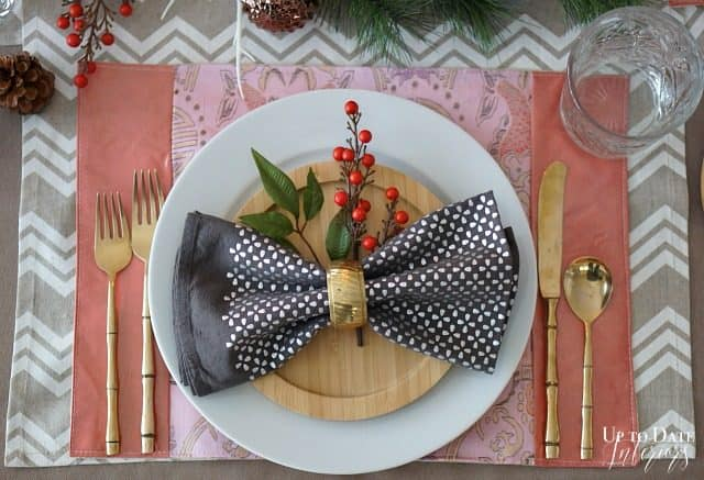 bamboo dishes with gold bamboo flatware for an easy Christmas DIY