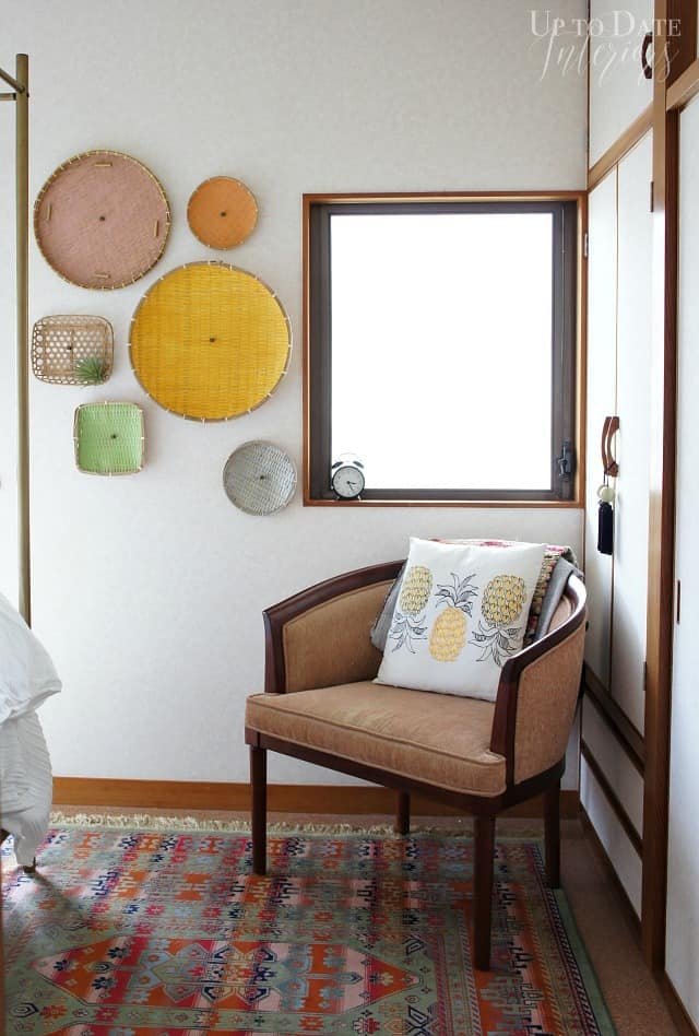 Colorful baskets for global bedroom decor