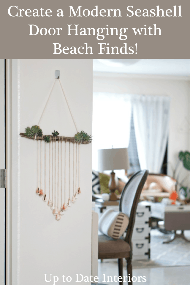 Modern Seashell wall decor hanging in a bright and airy coastal home.