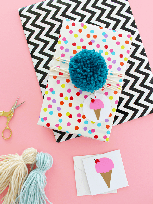 pom pom and tassel gift wrapping