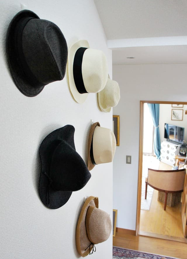 eclectic summer home tour hat wall