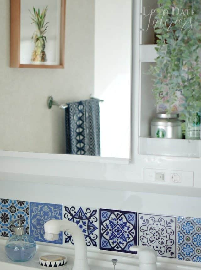 $100 rental bathroom makeover in an eclectic style