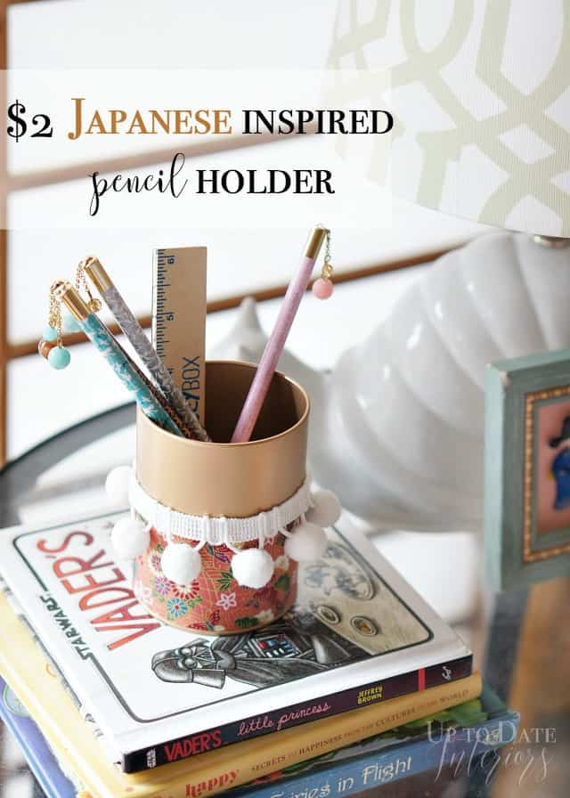 pink and gold Japanese pencil holder back to school DIY