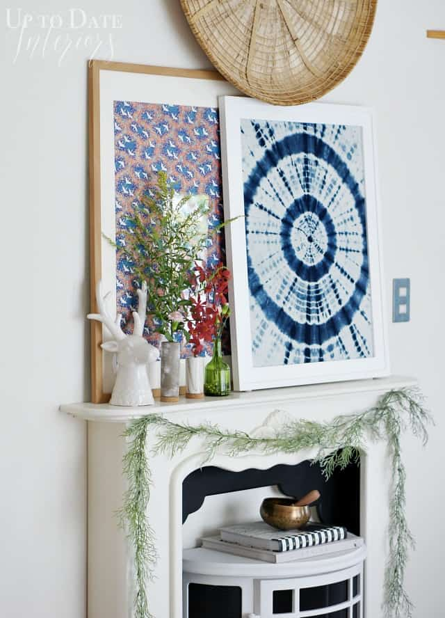 Fall eclectic decor on fireplace mantel