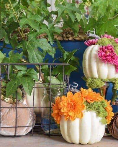 diy flower and moss pumpkins from Casa Watkins Living