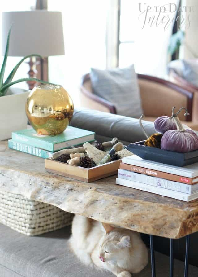 Sofa table with raw edge wood and eclectic decor in a Japanese rental house- decorating for renters