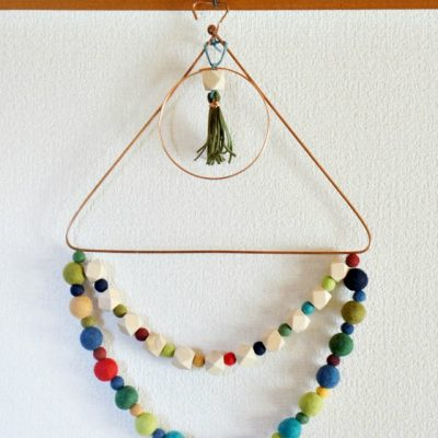 DIY Fall Wreath with wool and wood beads