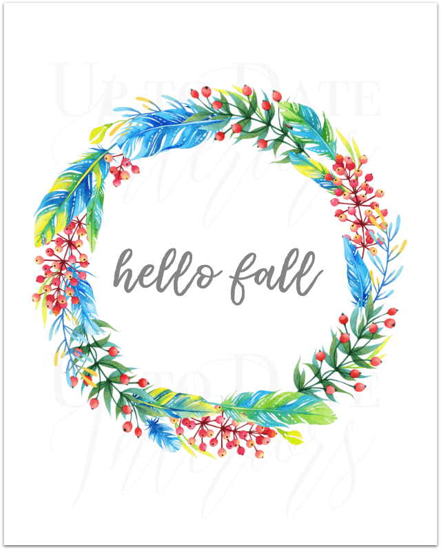 free hello fall and wreath boho printable
