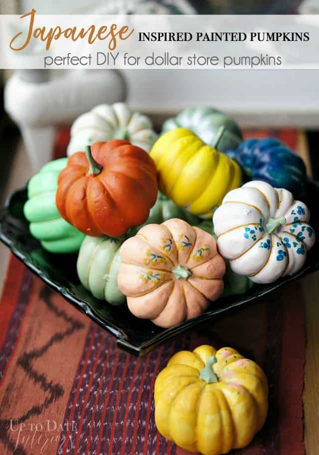 Japanese inspired painted pumpkins, a perfect DIY for dollar store pumpkins