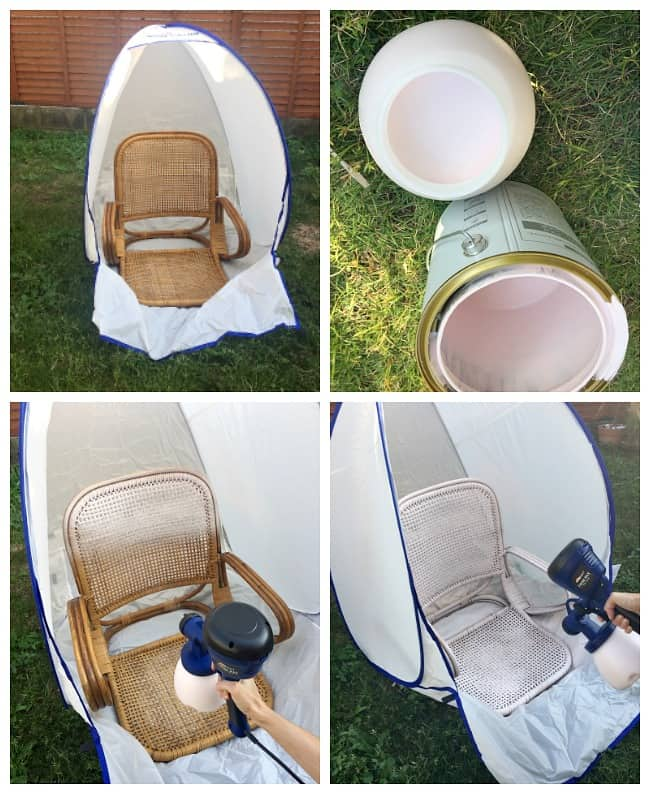 homeright spray gun and spray shelter chair makeover