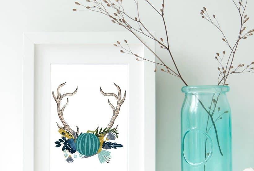 free autumn antler printable