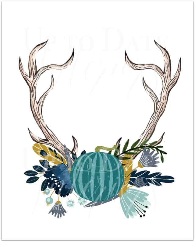 free autumn fall antlers with pumpkin and flowers printable