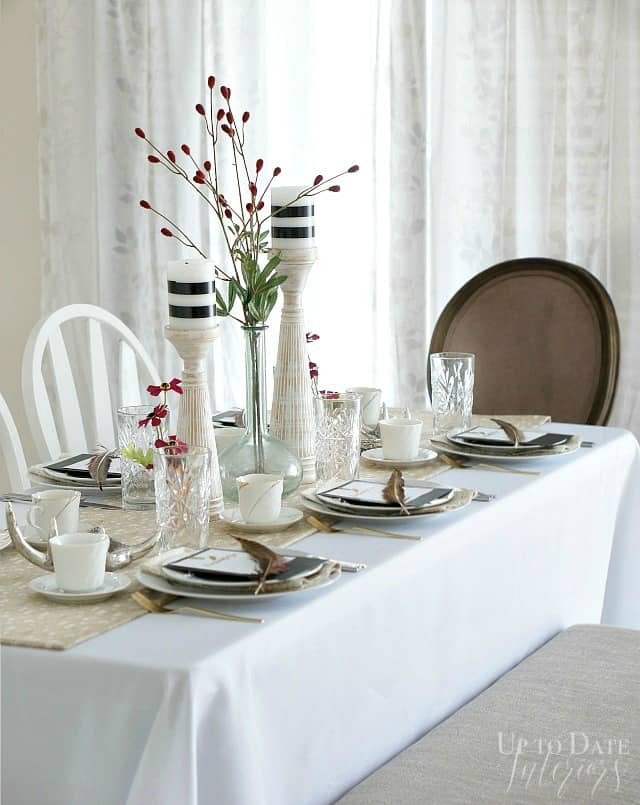 keep a folding table in a small space for guests