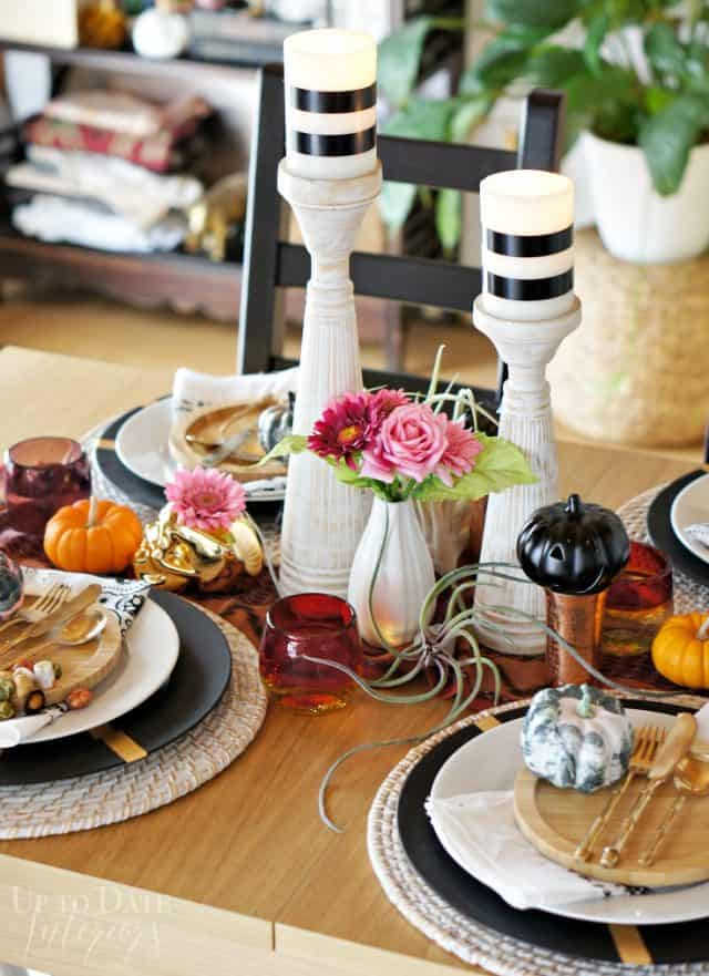 elegant and eclectic halloween table setting