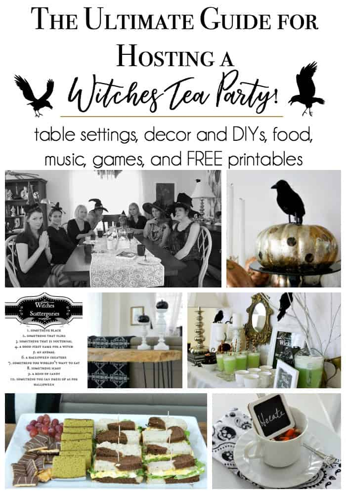 witches tea party ideas for decor, diys, menus, music, games, and table settings