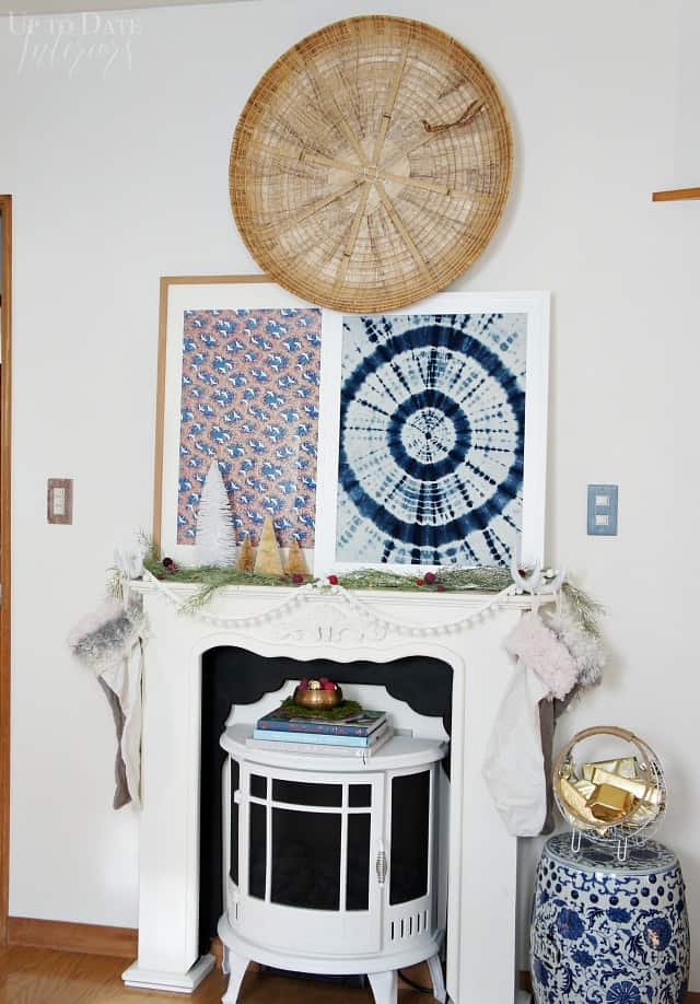 Christmas mantel in eclectic global style with easy decorating ideas