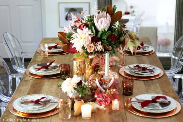 blush and rose gold thanksgiving table setting