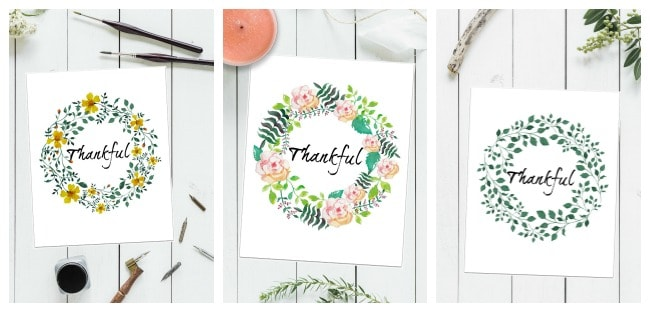 free thankful printables for thanksgiving and fall decor