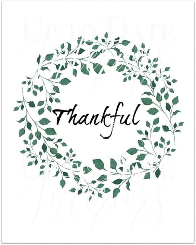 free thankful printable in green