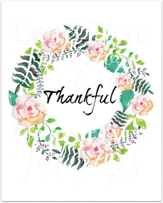 free thankful printable in pink