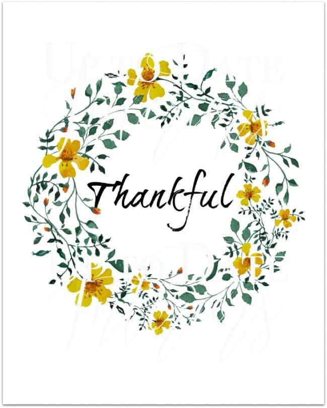 free thankful printable in yellow