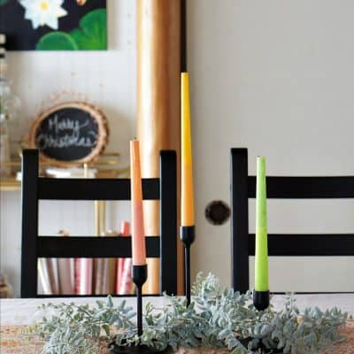 How to make a Scandi Christmas centerpiece with DIY candles!