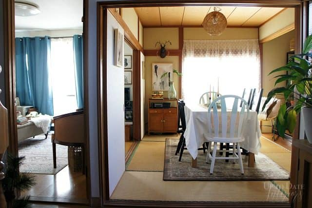 dining and living room in a Japanese rental decorated