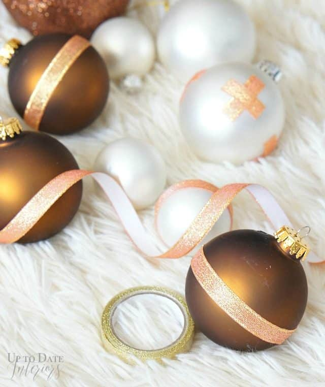 update old ornaments with ribbon tape!