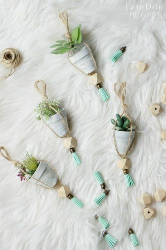 Nordic inspired DIY mini plant Christmas Ornaments