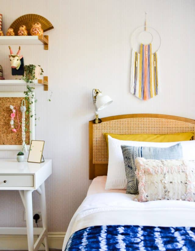 Global Boho Kids Room Makeover Diy Wall Hanging Wicker Headboard