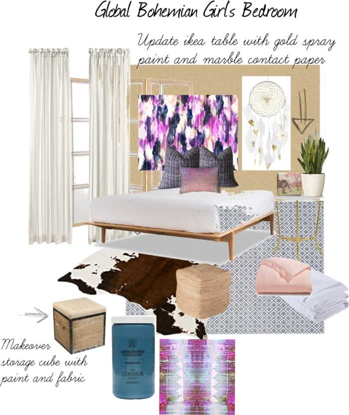 global bohemian girls room design