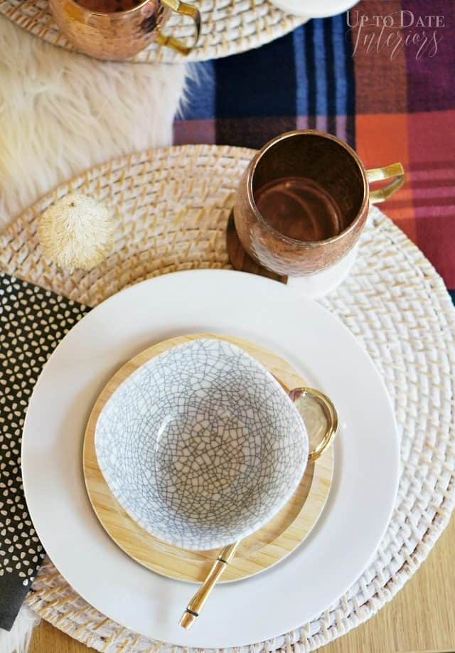 Plaid Fur Copper Table Setting For Winter
