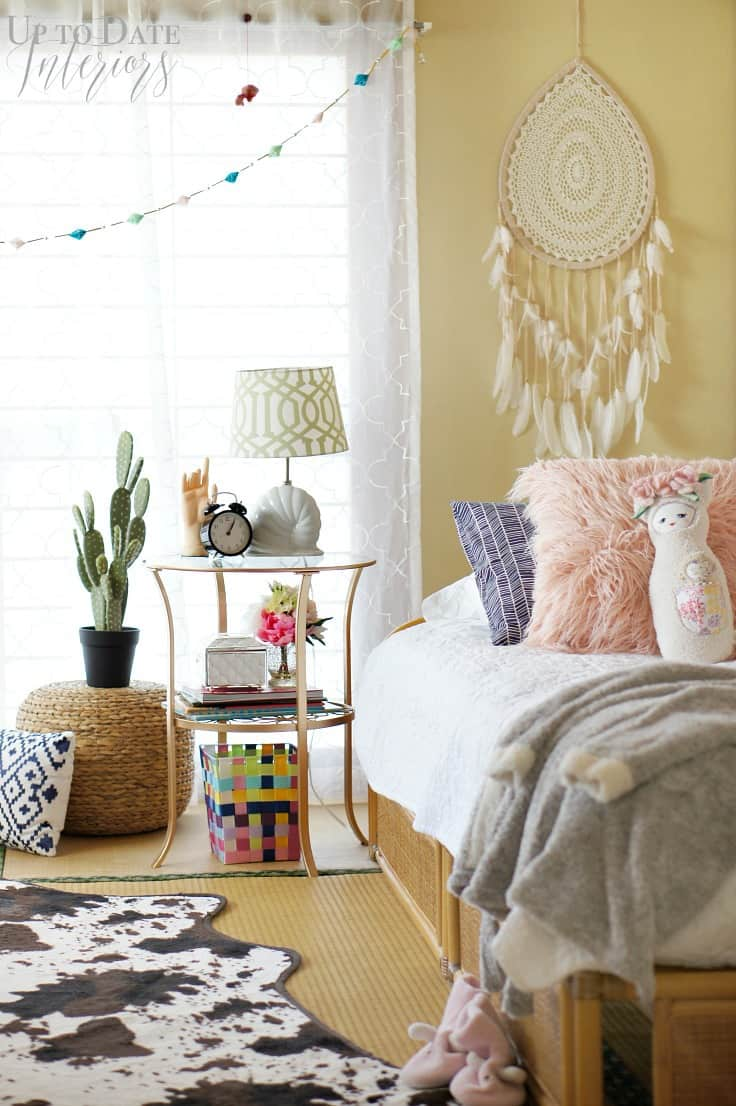 Global Bohemian Bedroom Makeover for a Girl | Up to Date Interiors