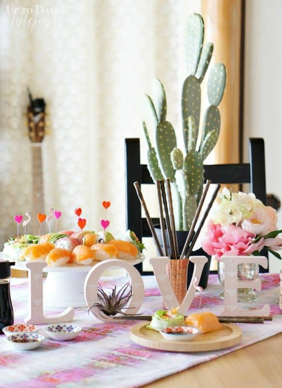 sushi-valentines-day-lunch-decor-with-dollar-store-tribal-sign