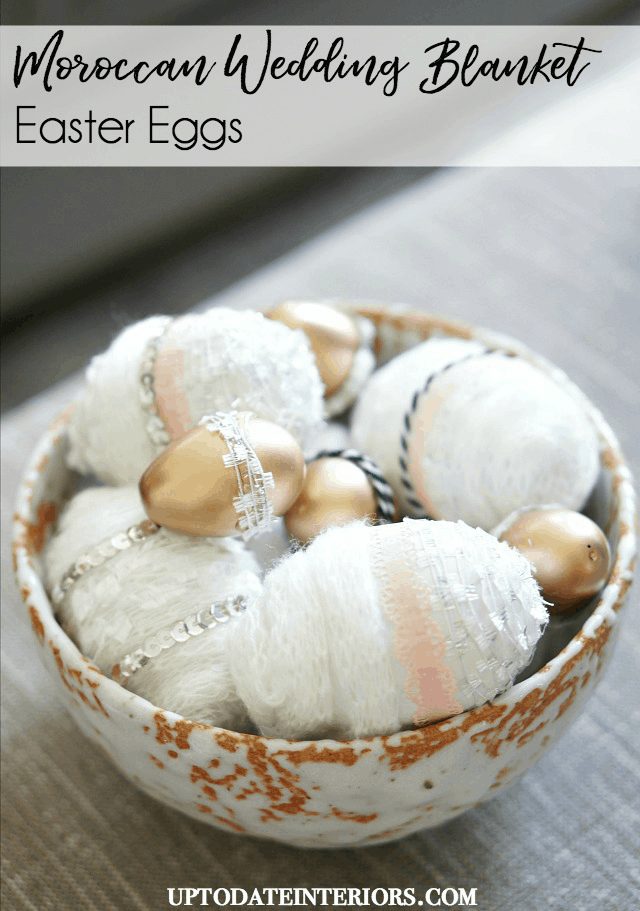 morroccean wedding blanket inspired eggs in a clay bowl
