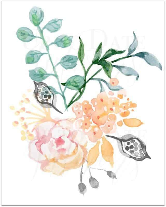 Floral printable Watercolor