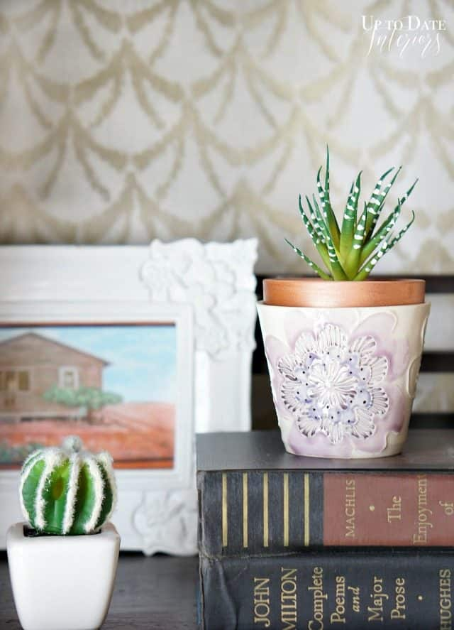 Japanese tea cup with faux succulent for a spring decorating idea
