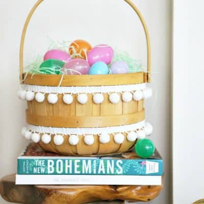 Mini Easter Basket Makeover with Pom Poms