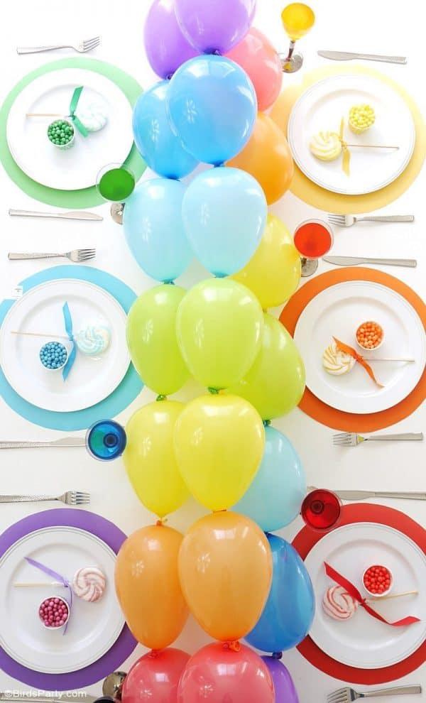Rainbow Balloons Table Runner Garland Centerpiece Diy3 (2)