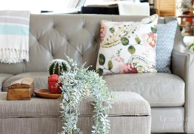 global eclectic touches with spring decor in the living room