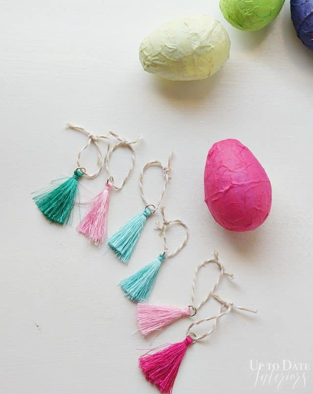 Tassels on an Easter Tree with eggs