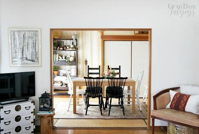 spring decor with a floral arrangement centerpiece in a tatami dining room and view from living room