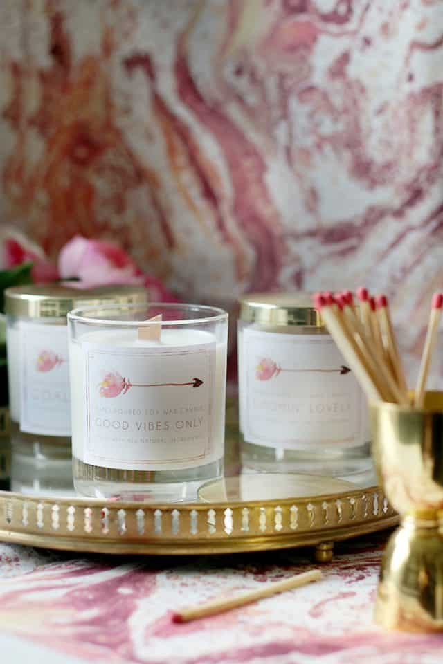 Diy Wood Wick Candles Made From Soy Wax And Essential Oils With Free Printable Labels 1
