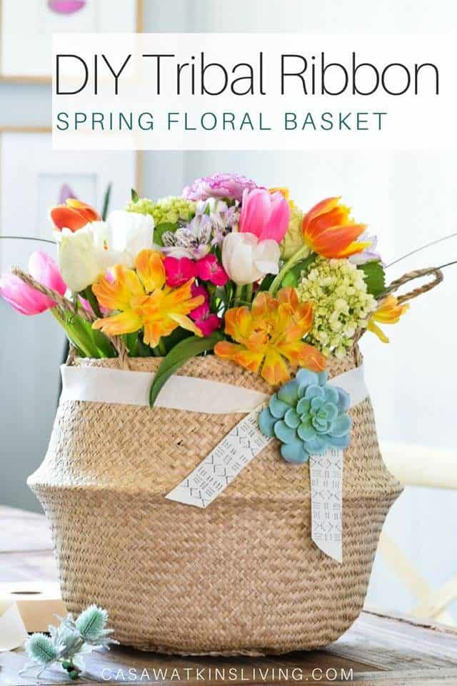 Diy Tribal Ribbon Spring Floral Basket
